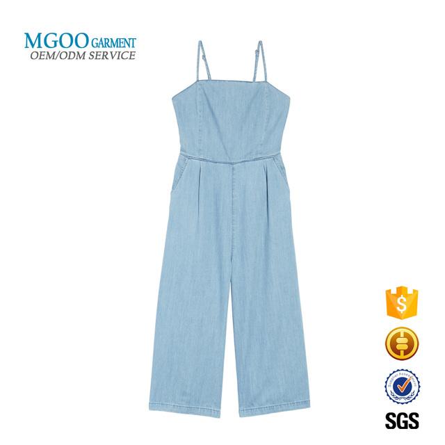 Plain spaghetti strap wide leg denim chambray romper Wholesale laid-back girls bodysuit custom