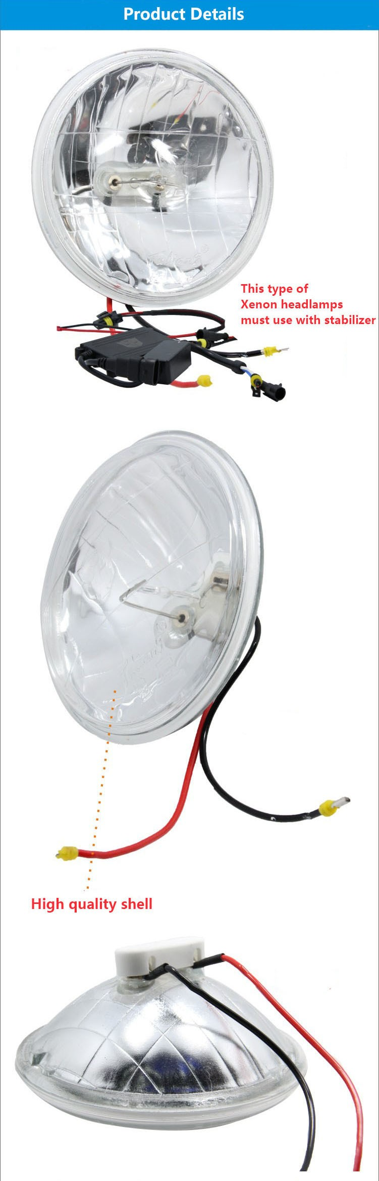 "Super white 50w 5"" hid van xenon lamp"