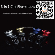 3 in 1Fish eye+wide-angle+Macro Universal Clip Photo Lens for iPhone, Samsung Galaxy s4 Note 3 Mobile Phone