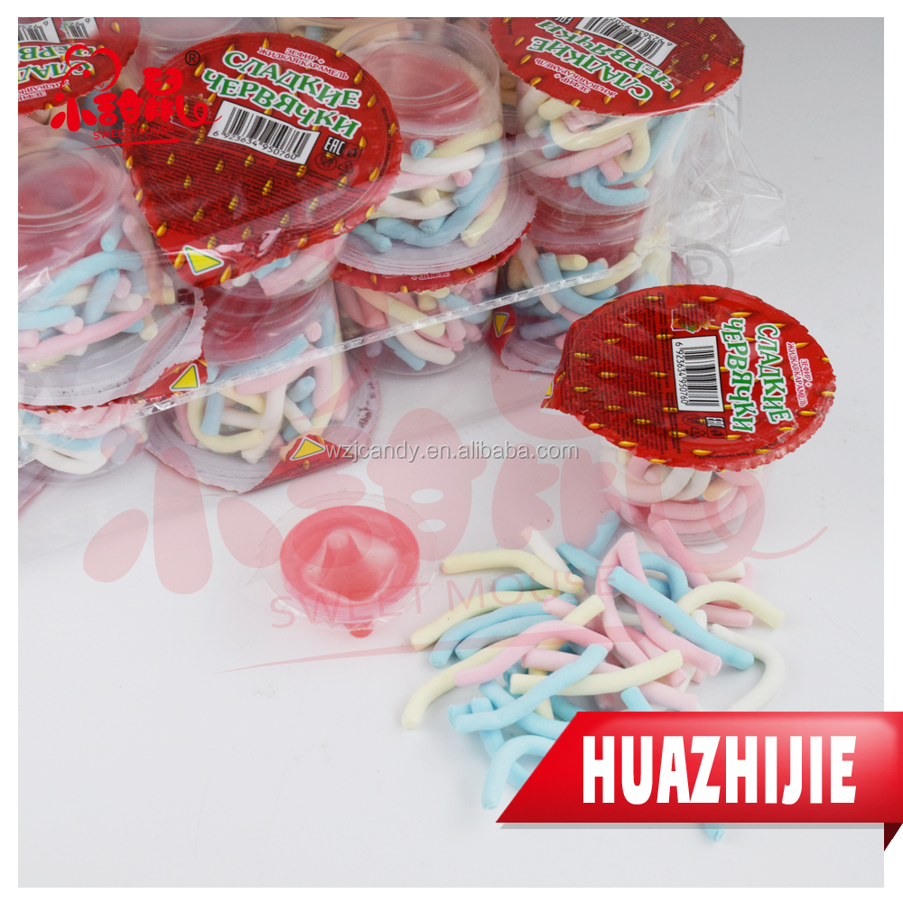 358201610 HALAL sweet rope twist marshmallow cotton candy with jelly jam cup