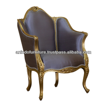 Silk Versailles Carved Arms Chair