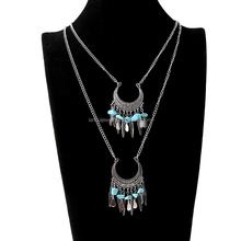 Bohemia Style double layer metal chain necklace stone and metal accessories pendant necklace