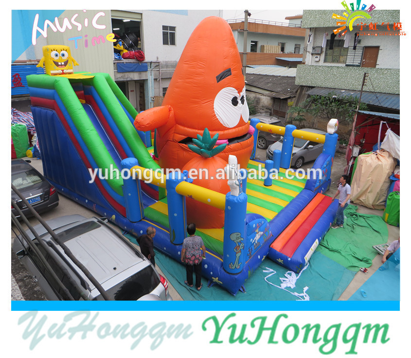 Giant PVC tarpaulin kids party sea star spongeia bouncy slide combo inflatable fun city