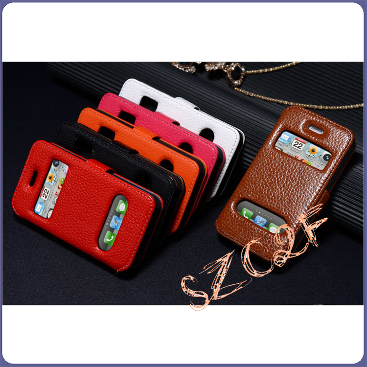 Mobile Phone Accessory Caller ID Display Cowhide Leather Case for iphone 4G