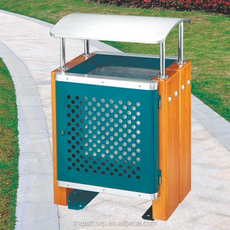 Outdoor Wood and stainless steel Composite Dustbins