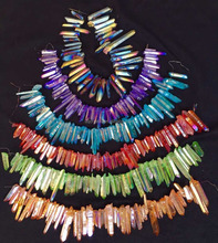 Newest handmade colourful aura quartz crystal necklace for healing