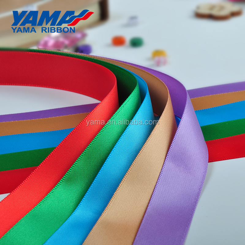 YAMA factory polyester solid color single/double faced satin ribbon