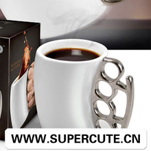 novelty Gift Coffee Mug Fist Cup Boxing Mugs ceramics Fistblack cup with sliver handle CUP Water Mug with Cool Handle
