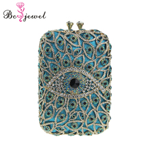 Wholesale Ladies Lovely Blue Evil Eyes Square Shape Clutch Bag Crystal Wedding Evening Bags WZB-057