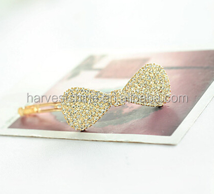 Fashion adult hair rhinestone bow with metal clips