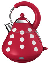 "Pyramid Shape 1.7L "" Red Polka"" SUS Cordless Kettle"