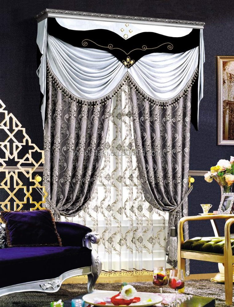 High Quality Poly Embroidered Jacquard Gray Curtain