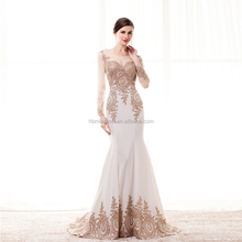 Custom made Sexy Girls Formal Party Gown long sleeve Sweetheart Gold embroidered Mermaid Long Evening Dress 2017