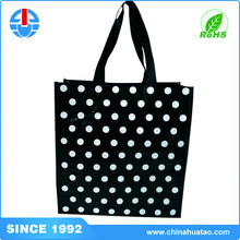 Fugang Small Size PP Woven Black Spot Print Cloth Gift Bags With Company Logo