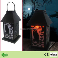 Metal solar lantern Halloween decoration for garden led light