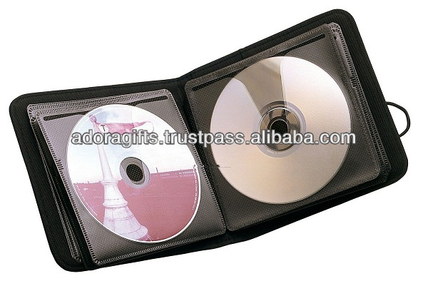 ADACD - 0031 handmade personalized dvd case / square multi dvd holder / mini leather cd dvd case with zipper