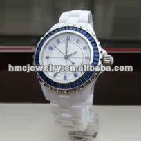 2012 Cheap JEWELRY Water Proof White Ceramic Quartz Wrist Watch With Blue Circle Diamond