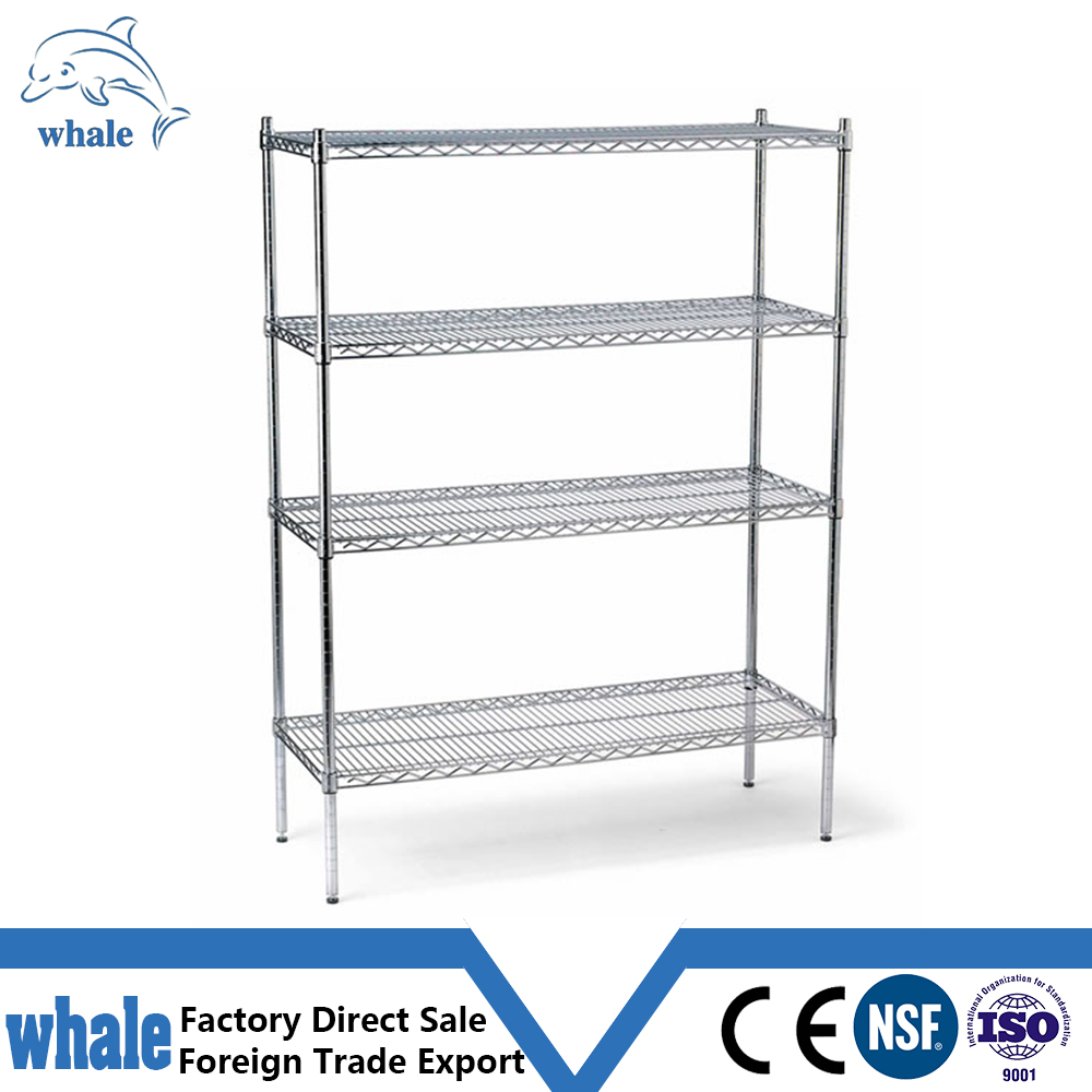 Chrome Commercial 6 Layer Shelf Adjustable Steel Wire Metal Shelving Rack