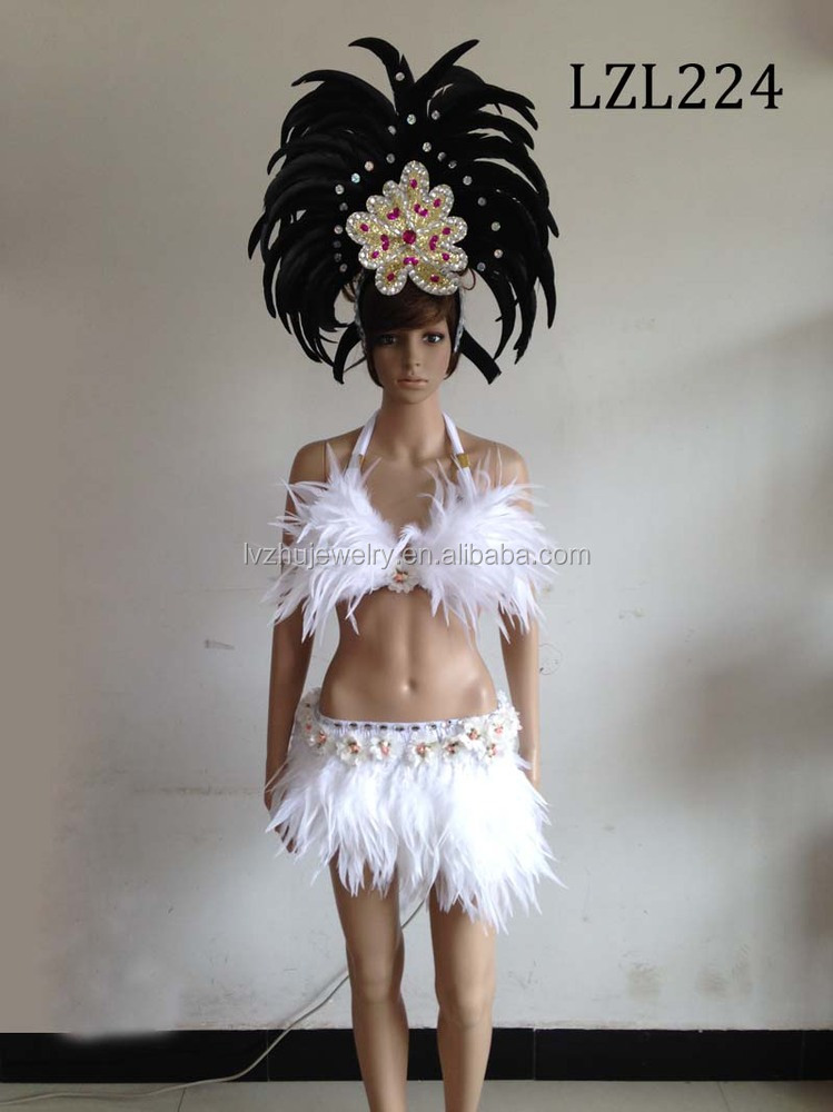 Showgirl/Dance Burlesque Feather samba costume LZL224