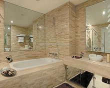 beige travertine bathroom wall covering panel