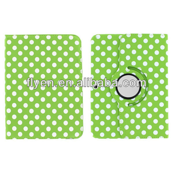 "Green Polka Dot 360 Rotating Leather Case Cover for Samsung Galaxy Tab 3 10.1"" P5200"