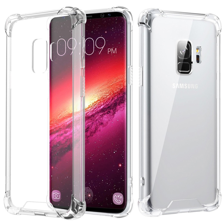 Acrylic back cover cases for samsung galaxy s9 plus tpu pc clear case shockproof bumper