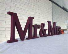 Just married wedding sign Mr & Mrs script wooden letters