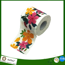 Virgin Wood Pulp Material customized printing Toilet Paper Roll with flowers design