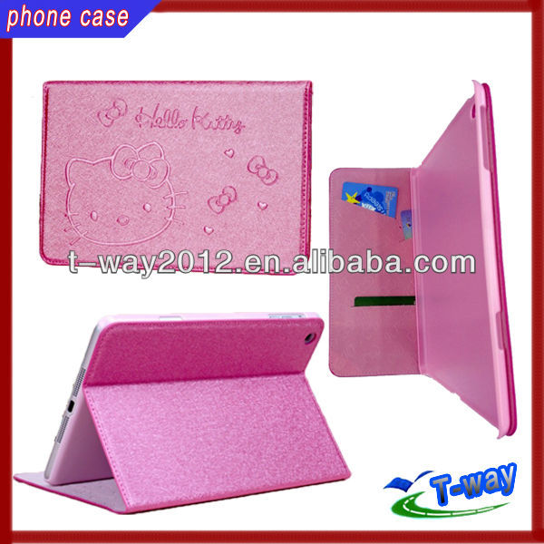 New arrival hello kitty wallet case for mini ipad
