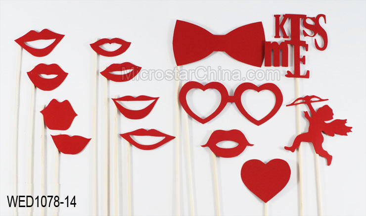 2016 New arrival 14 pcs kiss me photo booth props for wedding party decor