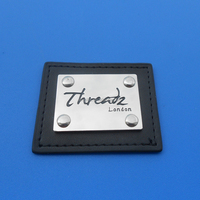 London Threads Leather Metal Logo Plate