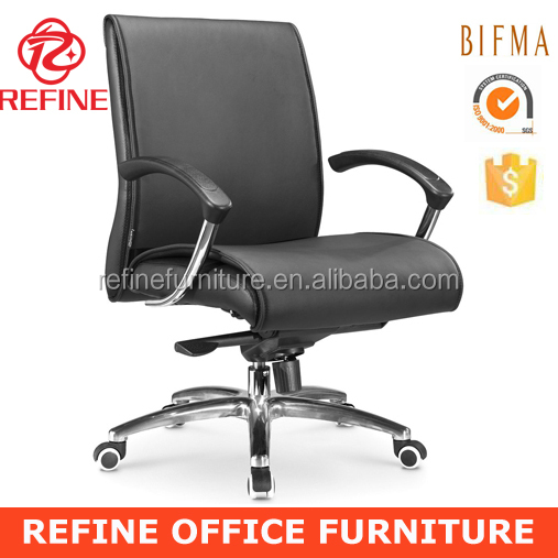 heavy duty modern black mid back executive cowhide office chair for fat people RF-S031