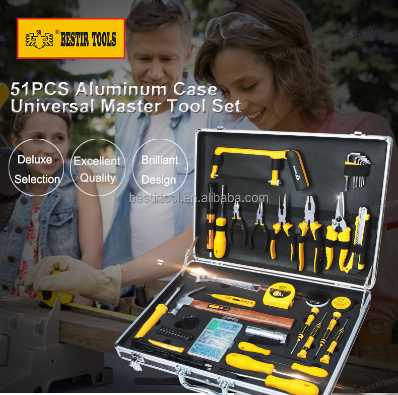 Bestir Hand Tools Kit 18PCS, 51PCS Aluminium Case Universal Mechanics Tool Set for Home Repair