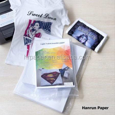 High color release fast dry A4/A3 size Light T-shirt transfer paper for 100% pure cotton fabric