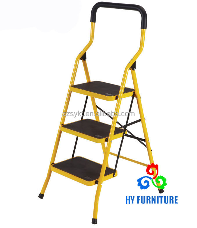 Safe design 3 step folding collapsible ladders with non-slip mat wholesale