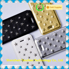 Rivet cover design for iphone/for samsung 6 inch leather case