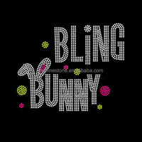 Happy Easter Holiday Easter Eggs Bunny rhinestone transfer iron on
