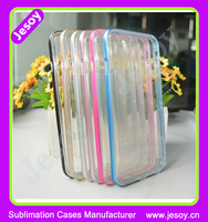 "JESOY Silicone Bumper Colorful Border Case For iPhone 6 6s 4.7"" PC TPU Clear Transpanrent Back Case"