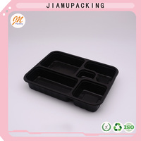China PP Disposable Black Plastic Tray For Take Away Fast Food,for lunch