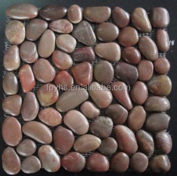 pebble tiles red mosaic