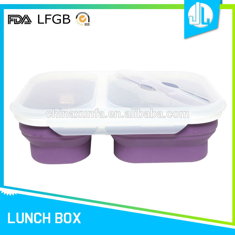 High quality microwaveable silicone folding cheap colorful 2 compartment container