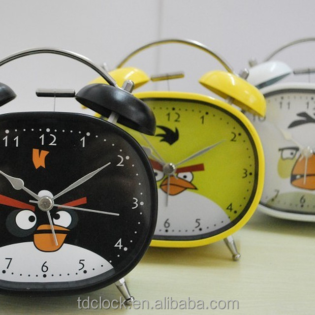 metal gift with oval shape ,lighing face alarm clock with with low night light