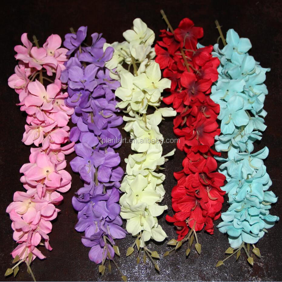 Hot selling 2ft plastic artificial wisteria flower vine for wedding decor