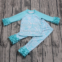 Promotion autumn spring 2pcs clothing set for kids girls fresh blue boutique outfits children long sleeve sleep clothes casual