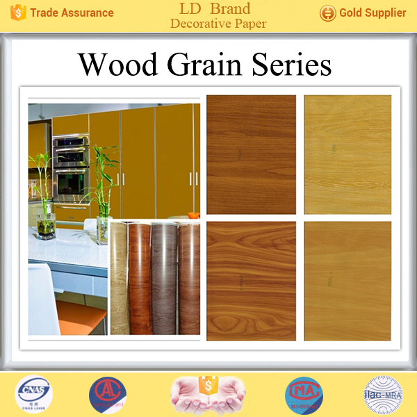 PU coated wood grain decorative paper for MDF boards lamination