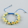 Hot new products colorful flower bead woven wrap rosary bracelet
