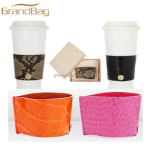 handmade genuine cow leather cup sleeve beautiful coffee cup holder
