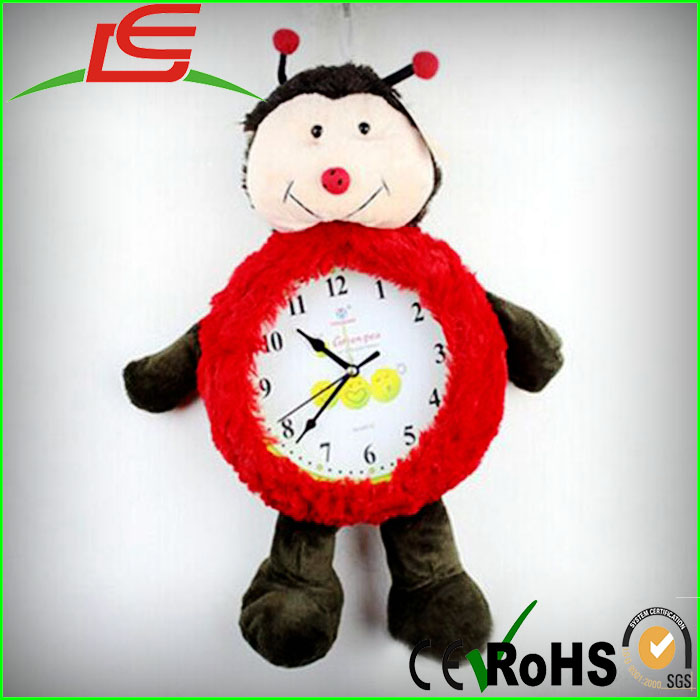 wholesale red animal bee plush clock toy
