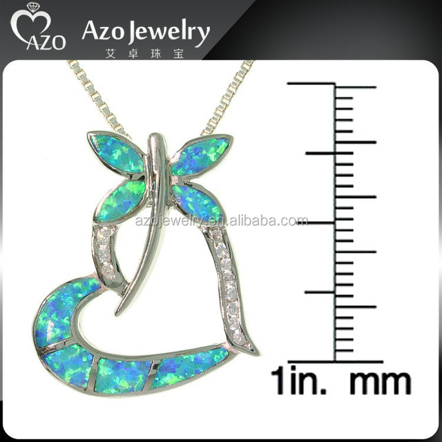 Charming 925 Sterling Silver Blue Opal CZ Dragonfly Pendant Necklace
