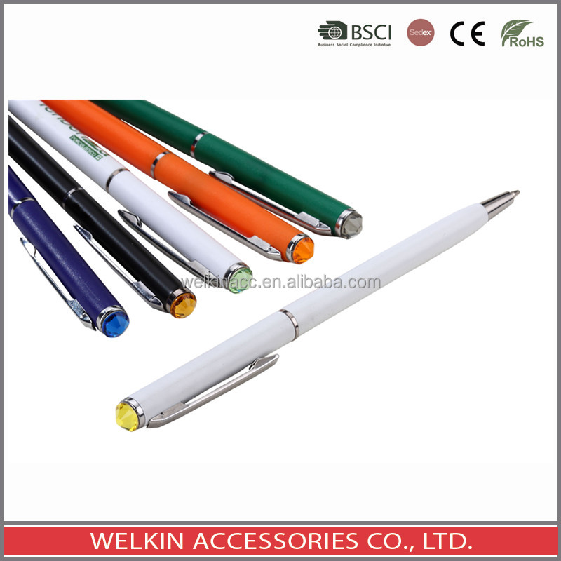 Top crystal retractable ball point pen
